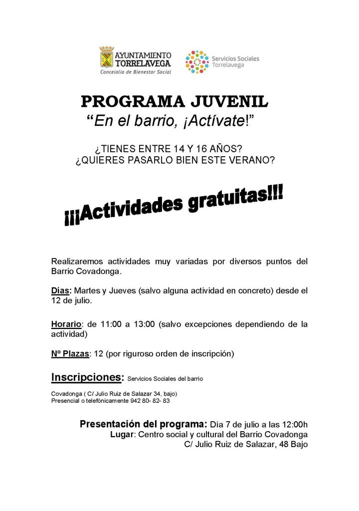 cartel programa juvenil